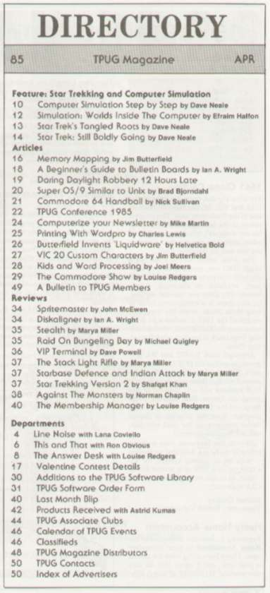 Issue Apr 1985 Content