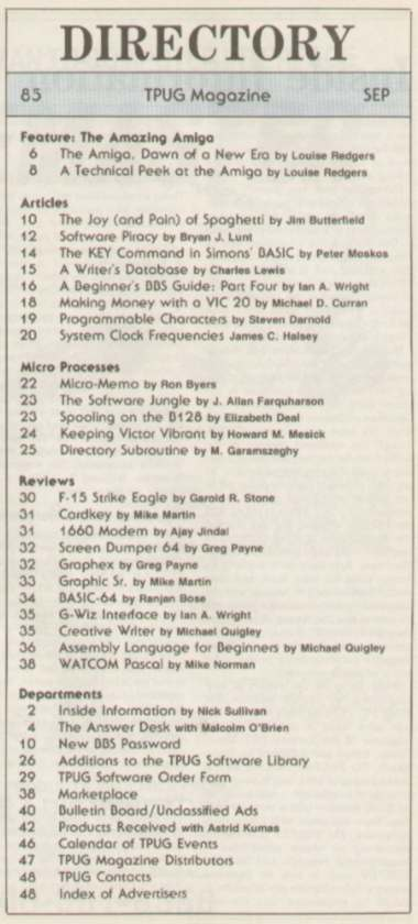 Issue Aug-Sep 1985 Content