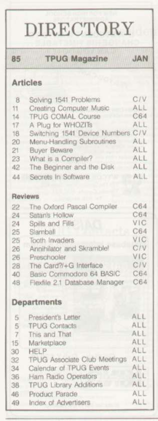 Issue Jan 1985 Content